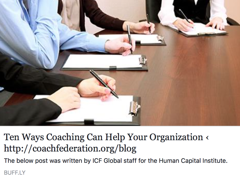 TEN WAYS COACHING CAN HELP YOUR ORGANIZATION
